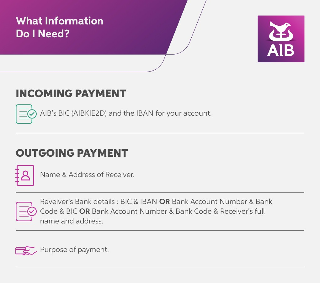 Sending and Receiving an International Payment with AIB