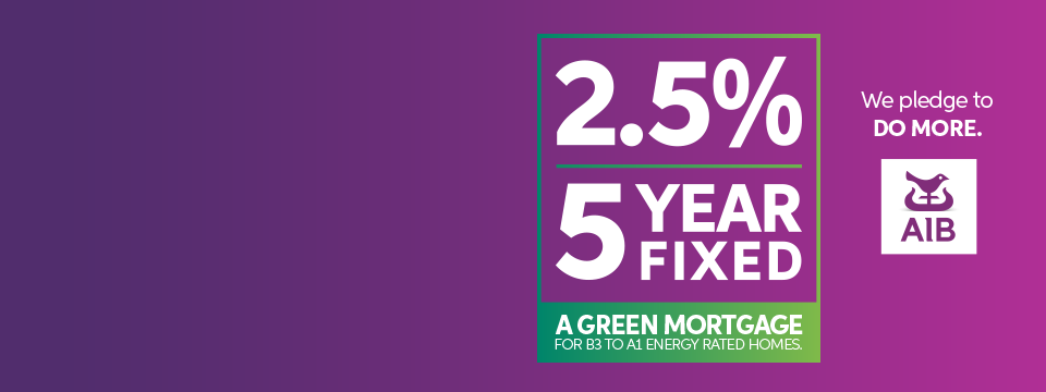 AIB brand purple banner with green mortgage offering of 2.5% 5 Year Fixed rate in white text.